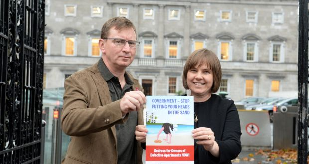 Apartment owner Andrew Prior and Kath Cottier, head of new lobbying group the Construction Defects Alliance, outside Leinster House. Photograph: Dara Mac Dónaill/The Irish Times