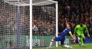 Cesar Azpilicueta scores Chelsea's second goal during the Champions League Group H match against Ajax  at Stamford Bridge. Photograph: Catherine Ivill/Getty Images