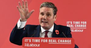 Labour Brexit secretary Keir Starmer. Conservatives doctored a video clip to edit out a key response he gave in a TV interview. Photograph: EPA/ANDY RAIN
