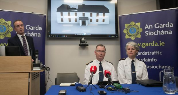 Det Insp Mark O'Neill (left) Supt John Gordon and Chief Supt Lorraine Wheatley during a post-sentencing media briefing at Kevin Street Garda Station, Dublin  on Tuesday. Photograph: Gareth Chaney/Collins
