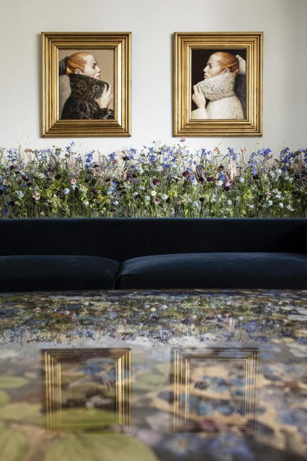 Collected flowers suspended in resin by Sasha Sykes in an Edwardian terrace house