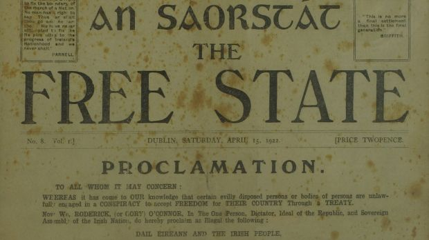 Copy of An Saorstat – The Free State newspaper 15 April, 1922, featuring a mock proclamation by Roderick O Connor €200–€300.