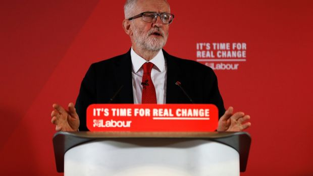 Irish backstop - Labour leader Jeremy Corbyn delivers a speech on leadership at the University of Wolverhampton. Photograph: Darren Staples/Getty Images