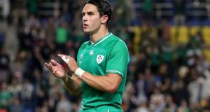 "Joey Carbery: ""I honestly can't say because I don't know [when he will return],"" said van Graan. ""Because of the type of injury he is definitely not going to be back in the next few weeks.""  Photograph: Dan Sheridan/Inpho"