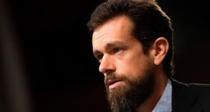 Twitter chief executive Jack Dorsey testifies before the Senate Intelligence Committee  in Washington.  Twitter is to stop accepting political advertising globally on its platform. Photograph: Jim Watson/AFP via Getty Images