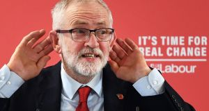 Although he enjoys poor ratings in opinion polls, UK Labour Party leader Jeremy Corbyn has more routes to power than the Conservatives under Boris Johnson. Photograph: Andy Rain/EPA