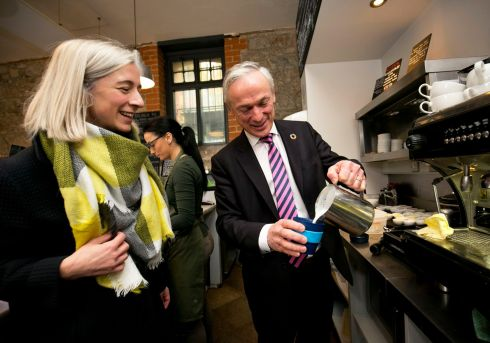 CUP FOR LIFE: Minister for Climate Action and Environment Richard Bruton announces proposed environmental levies to encourage more sustainable behaviour, which will be put out to consultation, with Angela Ruttledge, co-owner of Olive's Room, St Annes Park, Raheny. The changes include an increase to the plastic bag levy, a waste recovery levy, and a disposable cup levy. Photograph: Fennell Photography 2019