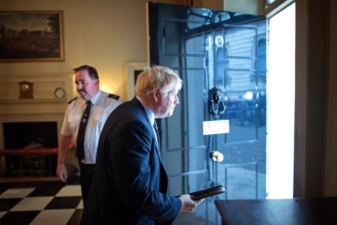 HARD SELL: British prime minister Boris Johnson leaves No 10 Downing Street to address the nation following an audience with Queen Elizabeth II at Buckingham Palace, marking the formal start of the British general election. Photograph: Stefan Rousseau/PA Wire