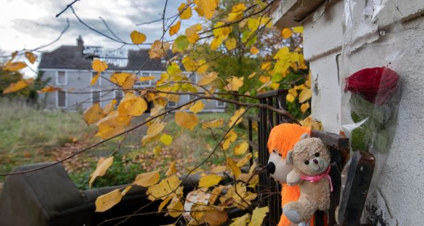 Two teddy bears and a rose at Glenwood House, where Ana Kriégel was murdered. Photograph: Colin Keegan/Collins Dublin
