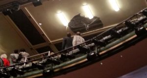 Part of the ceiling collapsed above the grand circle in the theatre. Photograph: Kieran Dunn/PA Wire