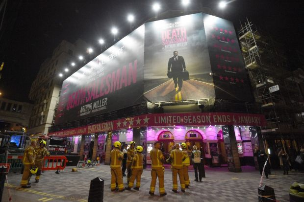 Firefighters outside the Piccadilly Theatre after it was evacuated. Photograph: Kirsty O'Connor/PA Wire