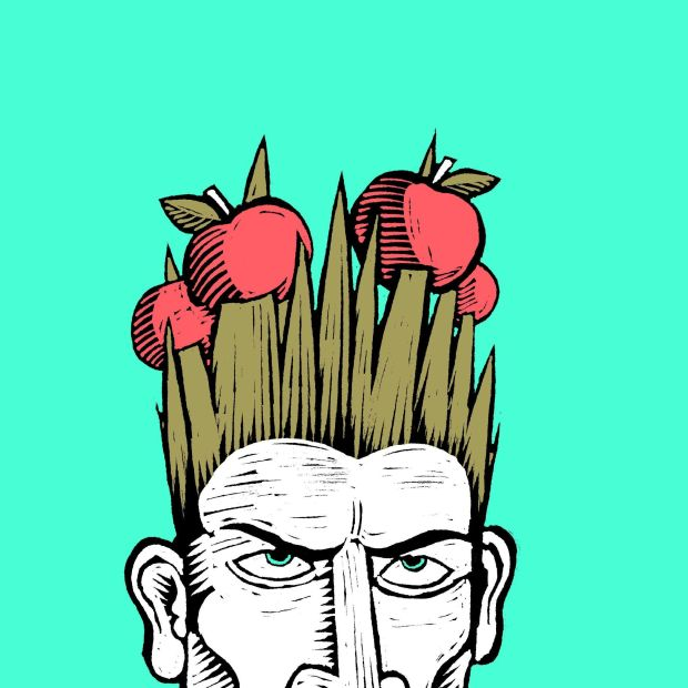 "Cróga – when incited to battle Cú Chulainn would undergo an uncontrollable contortion or ""warp spasm"" (riastrad). His hair became so bristled that apples falling from a tree would become spiked on its individual strands. Illustration: Joe McLaren"
