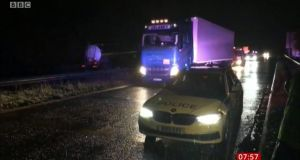 The truck in which fifteen people were found in Chippenham was owned by Cork company Delaney Transport international in Glanmire. Photograph: BBC News.