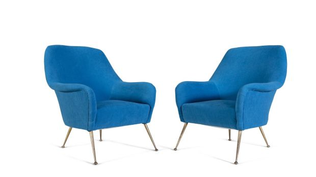 1950s blue armchairs in Adams's mid-century sale
