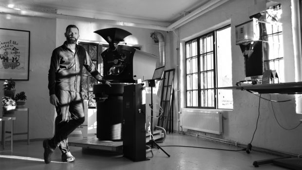 'We want to roast coffee in a socially and environmentally responsible way.' Jack Ryan roasting coffee in Stockholm. Photograph: Niklas Magnusson