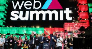 Paddy Cosgrave, CEO and co-founder of Web Summit (centre right) at the  official opening ceremony of the 2019 Web Summit  in Lisbon. Photograph: EPA/MIGUEL A. LOPES