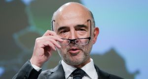Pierre Moscovici speaking at the launch of the European Commission's autumn economic outlook on Thursday. Photograph: AFP via Getty