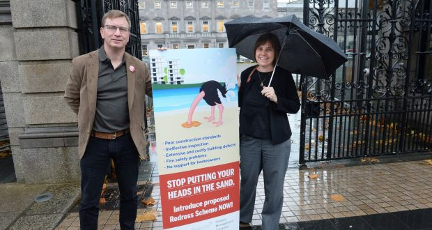 Kath Cottier and Andrew Prior, members of the Construction Defects Alliance lobbying group. Photograph: Dara Mac Dónaill / The Irish Times.