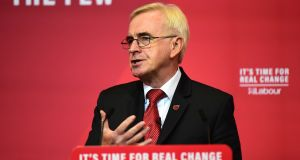 "The UK's shadow chancellor, John McDonnell, speaking in Liverpool on Thursday.   ""It means that the centre of political gravity is shifting away from London. It's coming back home to the north."" Photograph:  Richard Martin-Roberts/Getty Images"