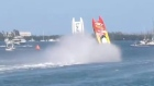 Two powerboats flip and crash simultaneously during race