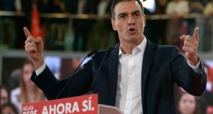 Prime minister  Pedro Sánchez campaigning in Spain's general election in Torremolinos on Wednesday. Photograph: Jorge Guerrero/AFP via Getty Images
