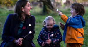 Liberal Democrats leader Jo Swinson during a campaign visit to Free Rangers Forest School Nursery in Midsomer Norton. Photograph: Will Oliver/EPA