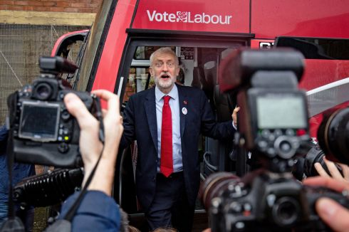 Labour leader Jeremy Corbyn unveils the Labour battle bus while on the general election campaign trail in Liverpool. Photograph: Jacob King/PA Wire