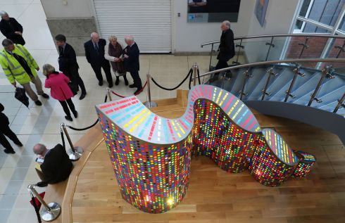 St James's Cancer Institute unveiled a sculpture of Structural Symmetries at St. James's Hospital. The sculpture, which was created by artist Chris Wilson, marks the 25th year of the discovery of the lifesaving BRCA2 gene. Photograph: Nick Bradshaw/The Irish Times