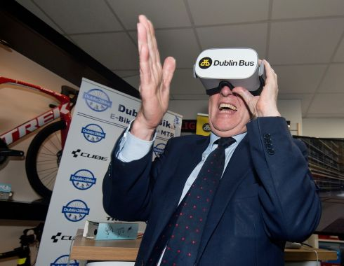 Minister for Transport Shane Ross launched a new virtual reality training initiative on behalf of Dublin Bus which will allow their 2,550 drivers to experience what it feels like to cycle on the capital's streets. Photograph: Dave Meehan/The Irish Times