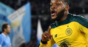 Celtic's French midfielder Olivier Ntcham celebrates at the Olympic stadium in Rome. Photograph: Getty Images