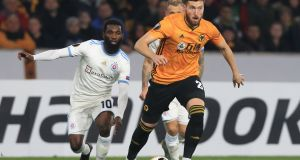 Wolverhampton Wanderers' Irish defender Matt Doherty in action against Slovan Bratislava at the Molineux stadium. Photograph: Getty Images