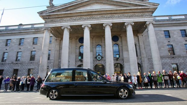 The cortege passes the GPO on Dublin's O'Connell Street. Photograph: Gareth Chaney/Collins Photos