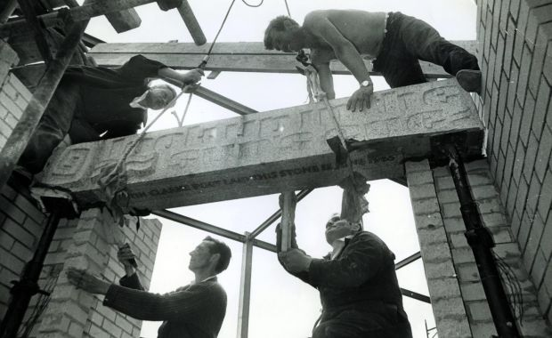 Laying the foundation stone of the new Lyric Theatre, in Belfast, in 1965. Photograph: Lyric Theatre archive, NUI Galway