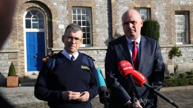 Garda Commissioner Drew Harris and Assistant Chief Constable Mark Hamilton of the PSNI brief the media at Garda HQ about the joint operation. Photograph: Gareth Chaney/Collins