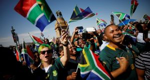 South African rugby fans great the team on their national  tour with the Webb Ellis Cup in Pretoria on Thursday. Photograph: Mike Hutchings/Reuters