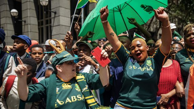 Springbok fans celebrate in Johannesburg on Thursday. Photograph: Michele Spatari/AFP via Getty Images