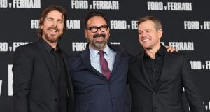 Christian Bale, James Mangold, and Matt Damon attend the Premiere of Le Mans '66 in Hollywood. Photograph: Kevin Winter/Getty Images