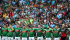 Mayo players line up for the national anthem ahead of this year's All-Ireland SFC semi-final against Dublin at Croke Park. Photograph:  James Crombie/Inpho