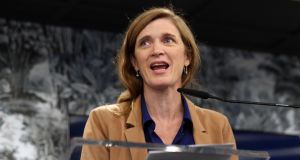 Former US ambassador to the United Nations Samantha Power speaking at the Global Goal Live launch