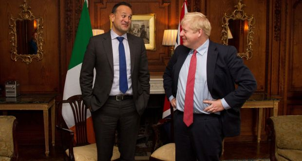 Taoiseach Leo Varadkar and Britain's prime minister Boris Johnson at the Thornton Manor Hotel, near Birkenhead for talks  in October. Photograph:  Noel Mullen/AFP via Getty Images
