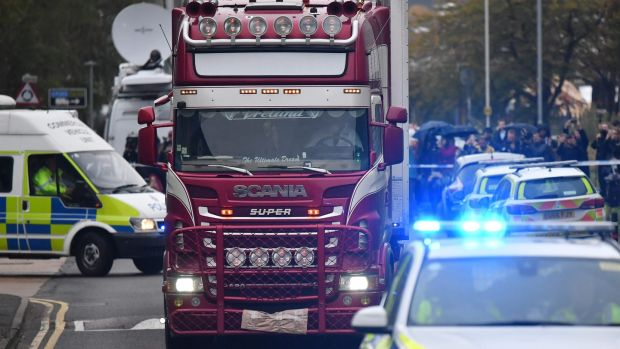 The lorry in which the 39 dead were discovered. Photograph: Ben Stansall/Getty