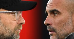 Jürgen Klopp and Pep Guardiola go head-to-head on Sunday as Liverpool host Manchester City at Anfield. Photograph: Dan Mullan/Getty Images