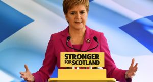 SNP leader and Scotland's First Minister, Nicola Sturgeon, launching the party's general election campaign in Edinburgh on Friday. Photograph: Andy Buchanan/AFP via Getty Images