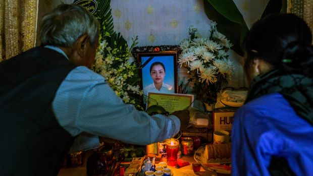 Relatives at a memorial for Pham Thi Tra My (26), one of 39 Vietnamese people found dead in a refrigerated trailer in Britain on October 29th. Photograph: Minzayar Oo/The New York Times