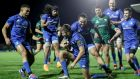 Leinster's Ross Byrne is congratulated by team-mates after scoring their fifth try in the Guinness Pro 14 game against Connacht at  The Sportsground in Galway. Photograph: Dan Sheridan/Inpho