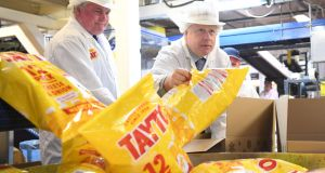 British prime minister Boris Johnson during a visit to Tayto Castle crisp factory, Tandragee, Co Armagh on Thursday. Photograph: Stefan Rousseau/PA