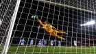 Celta Vigo goalkeeper Ruben Blanco fails to stop a free-kick from Barcelona's Lionel Messi during the La Liga game at the Nou Camp. Photograph: Alex Caparros/Getty Images