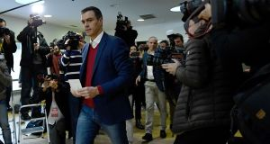 Spanish incumbent prime minister  Pedro Sanchez of the Socialist Party (PSOE) casts his ballot at a polling station in Pozuelo de Alarcon on Sunday.  Photograph: Oscar Del Pozo/AFP/Getty