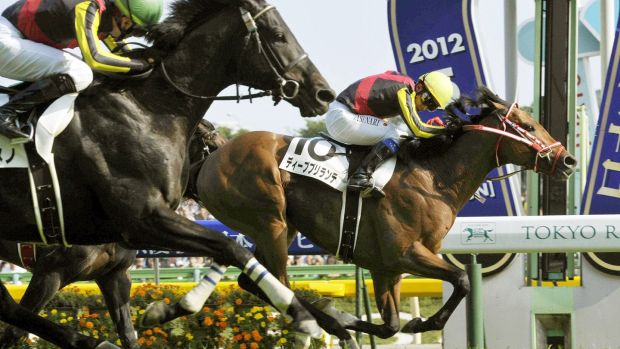 Deep Brillante (back) wins the Japanese Derby at Tokyo Racecourse in 2012. The thoroughbred was raised at Paca Paca Farm, owned by Irish-born veterinarian Harry Sweeney, in Hidaka, Hokkaido. Photograph: Kyodo News Stills via Getty Images