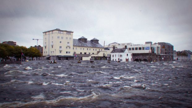 How Galway's Spanish Arch might look after a rise in sea levels in coming decades. Graphic: Eddie Sheanon/Midas Productions